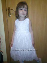 Зимой-Снежинка, летом-Принцесса Нарядное платье 80-130 хлопок