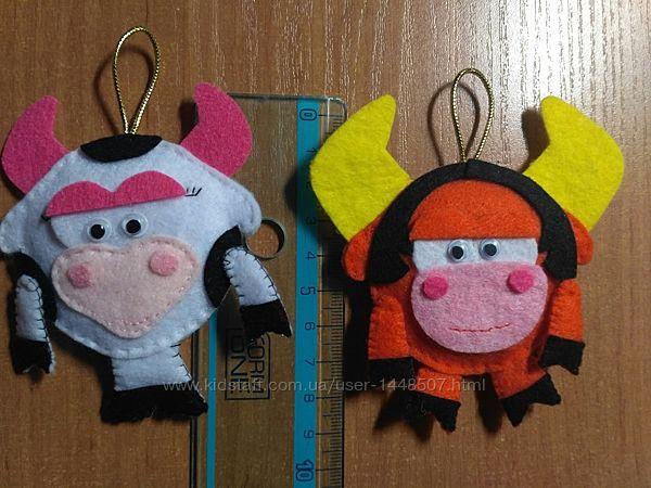 Бык, бычок, символ года, ёлочная игрушка, новогодняя игрушка, фетр