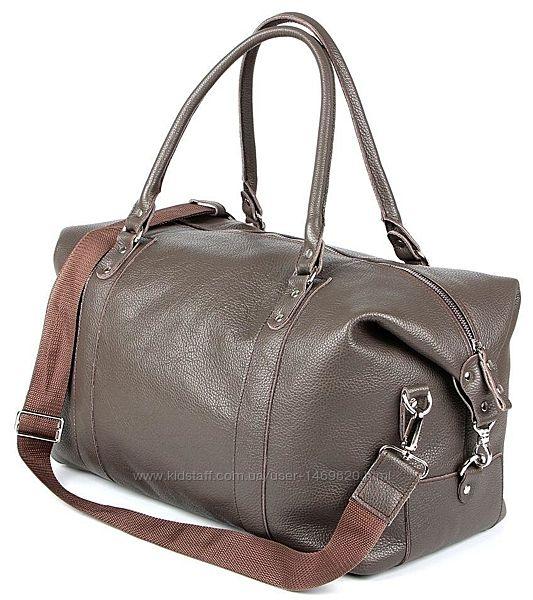 Сумка дорожная серая кожаная сумка для спортзала уикендер стильная