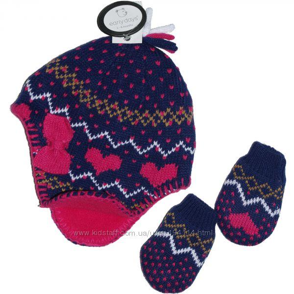 Шапка Primark с рукавичками. Размер 0-6 мес