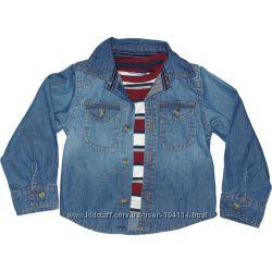 Рубашка джинсовая Primark с футболкой. 68, 72р