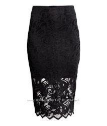 Шикарная кружевная брендовая юбка H&M, S-М