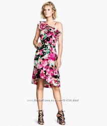 Красивое летнее платье на одно плечо, хлопок, H&M