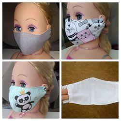 Маска защитная текстильная многоразовая взрослая детская тканевая захисна