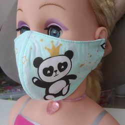 Маска с Пандой защитная многоразовая взрослая детская тканевая маска захисн
