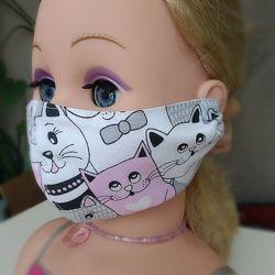 Маска Котики защитная многоразовая взрослая детская тканевая маска захисн