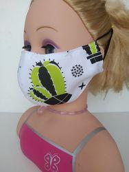 Маска Кактусы защитная многоразовая взрослая детская тканевая маска захисна