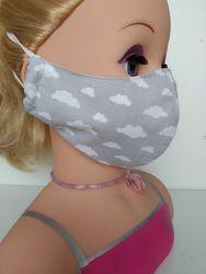 Маска Тучки серые защитная многоразовая взрослая детская тканевая маска зах