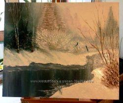 Картина Зимний лес, река. Пейзаж