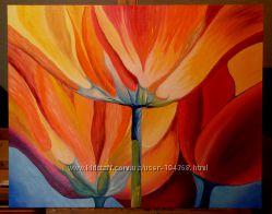 Картина Фантастические цветы, масло, холст