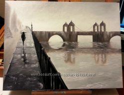 Картина маслом Ломоносовский мост