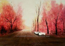 Картина маслом Белое авто на дороге
