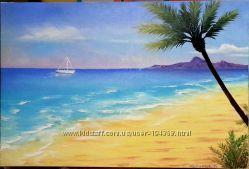 Картина Берег на бирюзовом море Масло, 40х60см
