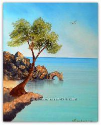 Картина Скала. Дерево. Море Масло, холст 40х50см
