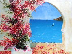 Картина маслом Арка на берегу 30х40 см