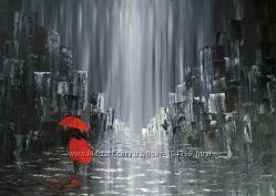Дождливый день, Модный интерьер Италия 50х70 см, масло