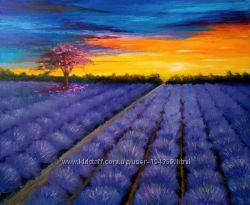 Современная картина Лавандовое поле, 50х60 см, масло