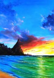 Картина маслом, закат на Гаваи