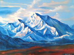 Картина маслом, горный пейзаж, снег
