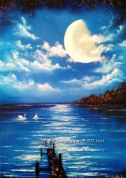 Картина маслом, ночное озеро, лебеди