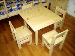 Столики, стулья, диван и кровать - детскую мебель спешим заказать. Дерево