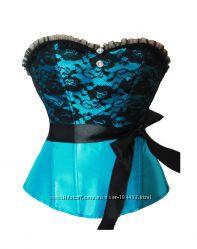 Романтичный атласный голубой корсет