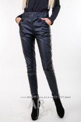 Кожаные штаны шкіряні штани высокая средняя талия модели цвета ARjen аржен