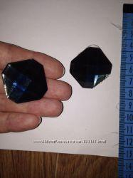 Красивые крупные темно синие индиго серьги гвозики камень пуссеты