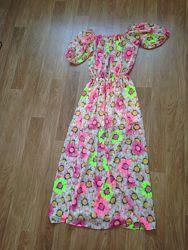 легкое длинное платье в пол шифон нежное цветочный принт красивое цветы