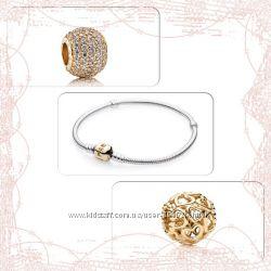 Браслет Pandora серебряный с золотой застежкой