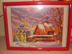 Для истинных любителей прекрасного-вышитая картина Зимний пейзаж Церквушки