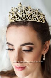 Золотая свадебная корона, золотая свадебная диадема, золотая тиара
