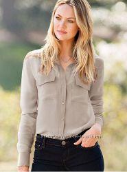 100  шелк блуза рубашка виктория сикрет оригинал М