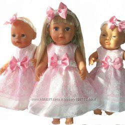 Гипюровые  платья для кукол беби борн и Сестренки