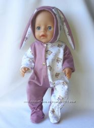 Одежда для кукол беби борн , в наличии зайцы махровые и трикотажные
