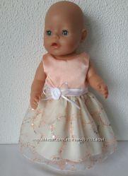 Нарядные с пайетками платья для кукол baby born 43см