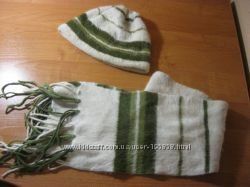 Шапка  шарф из ангоры, стильный комплект для девушки