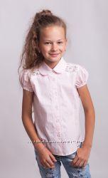 Блузка  короткий рукав хлопок с  кружевом