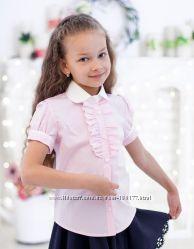 Блузки  рубашки короткий рукав  для девочек