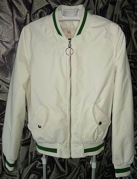женский бомбер белый курточка спортивная подросток