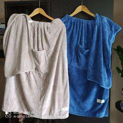 Полотенце-халат для сауны, бани, ванны мужские и женские