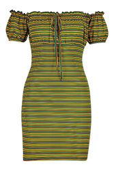Полосатое платье с открытыми плечами и фонариками Boohoo