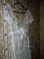 Продам очень нежное свадебное платье из гипюра