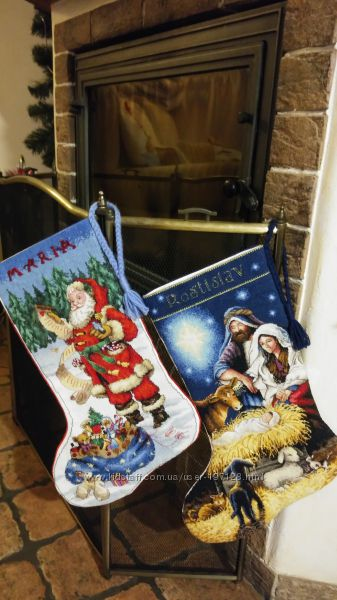 Вышитые вручную крестиком рождественский  сапожок для детей
