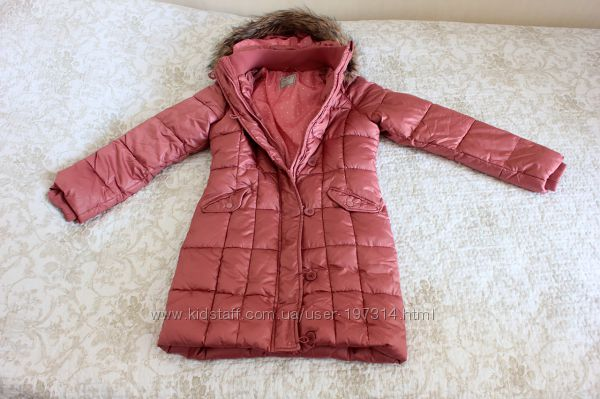 Шикарное бежово-розово-коралловое пальто на девочку 11-12 лет