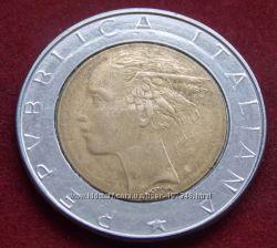 Монета Италии 500 лир 1986 года