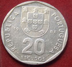 Монета Португалии 20 эскудо.