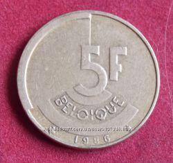 Монета Бельгии 5 франков
