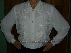 Эффектная блузка 52-54 размера с вышивкой из шелка