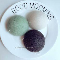 натуральные мочалки  конжак белые, черные и зеленые в наличии